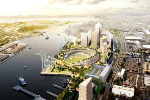 A rendering of the Oakland Athletics proposed $12 billion Howard Terminal project, which includ ...