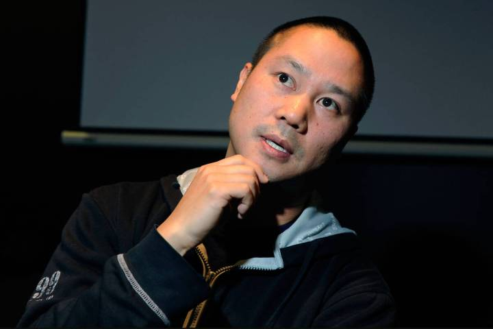 Zappos CEO Tony Hsieh gestures during a 2012 interview in Las Vegas. (Las Vegas Review-Journal)