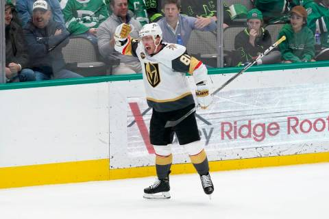 Vegas Golden Knights center Jonathan Marchessault (81) celebrates scoring a goal late in the th ...
