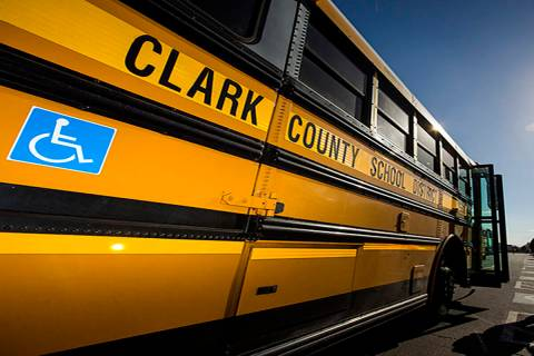 A Clark County school bus. (Jeff Scheid/Las Vegas Review-Journal)