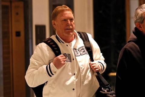 Mark Davis, owner of the Las Vegas Raiders, leaves the NFL owners meeting in New York, Wednesda ...