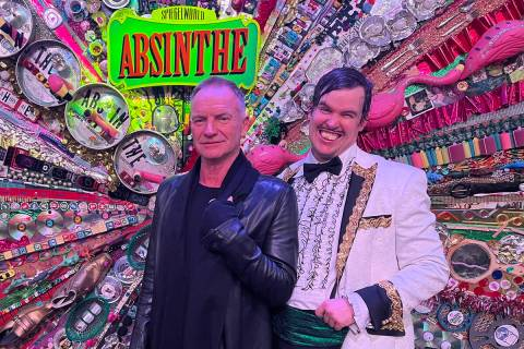 """Recording superstar Sting, left, is shown with Gazillionaire after attending """"Absinthe"""" at Caes ..."""