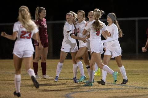 Coronado's Xayla Black (10) celebrates a goal with teammates in the first half during a girls h ...