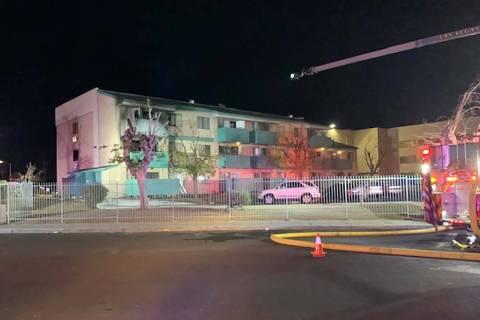 A fire damaged a senior apartment complex. (Las Vegas Fire & Rescue)