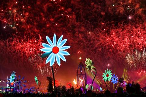 Fireworks go off across the festival grounds during the second day of the Electric Daisy Carniv ...