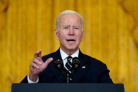 President Joe Biden speaks about his domestic agenda from the East Room of the White House in W ...